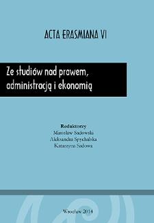 Ze studiów nad prawem, administracją i ekonomią - Wstęp