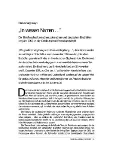 """""""In wessen Namen...?"""" : der Briefwechsel zwischen polnischen und deutschen Bischöfen im Jahr 1965 in der ostdeutschen Presselandschaft"""