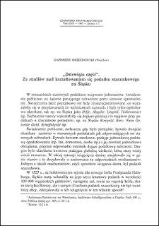 """""""Dziewiąta część"""" : ze studiów nad kształtowaniem się podatku szacunkowego na Śląsku"""