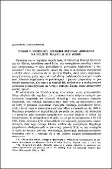 Uwagi o przebiegu pruskiej reformy agrarnej na Dolnym Śląsku w XIX wieku