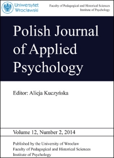 Polish Journal of Applied Psychology Volume 12, Number 2, 2014