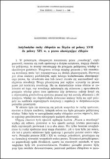 Antyfeudalne ruchy chłopskie na Śląsku od połowy XVII do połowy XIX w. a prawo obowiązujące chłopów