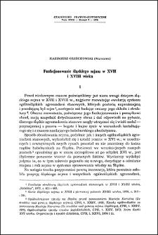 Funkcjonowanie śląskiego sejmu w XVII i XVIII wieku