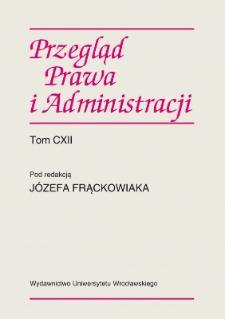 Acta Universitatis Wratislaviensis. Przegląd Prawa i Administracji - Strony redakcyjne i spis treści