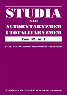 """Bibliografia czasopisma """"Studia nad Faszyzmem i Zbrodniami Hitlerowskimi"""" (tomy 30–33 za lata 2008–2011) i """"Studia nad Autorytaryzmem i Totalitaryzmem"""" (tomy 34–41 za lata 2012–2019)"""