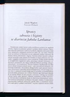 Problemy zdrowia i higieny w diariuszu Jakuba Lanhausa