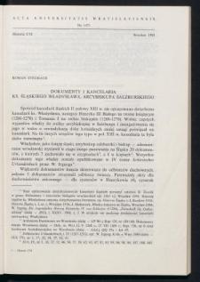 Dokumenty i kancelaria księcia śląskiego Władysława, arcybiskupa salzburskiego