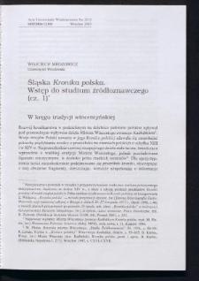 """Śląska """"Kronika polska"""". Wstęp do studium źródłoznawczego (cz. 1)"""