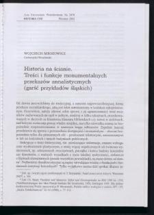 Historia na ścianie. Treści i funkcje monumentalnych przekazów annalistycznych (garść przykładów śląskich)