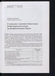 O celowości i metodach fałszowania źródeł dyplomatycznych na średniowiecznym Śląsku