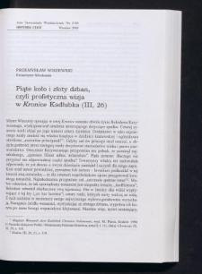 Piąte koło i złoty dzban, czyli profetyczna wizja w Kronice Kadłubka (III, 26)