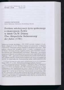 """Problem sekularyzacji życia społecznego a emancypacja Żydów w dziele Ch. W. Dohma """"Über Bürgerliche Verbesserung der Juden"""" (1781)"""