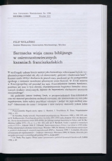 Sarmacka wizja czasu biblijnego w osiemnastowiecznych kazaniach franciszkańskich