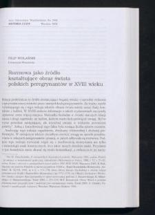 Rozmowa jako źródło kształtujące obraz świata polskich peregrynantów w XVIII wieku