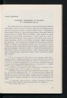 Ludność żydowska w Oławie w I połowie XIX w.