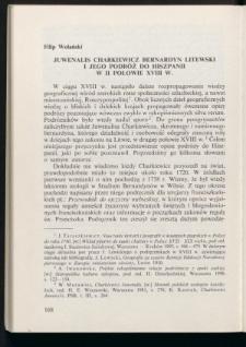 Juwenalis Charkiewicz bernardyn litewski i jego podróż do Hiszpanii w II połowie XVIII w.