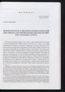 Korespondencja z archiwum Schaffgotschów jako źródło do historii Polski drugiej połowy XVII i początku XVIII w.