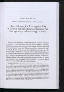 Obraz tolerancji w Rzeczypospolitej w świetle staropolskiego piśmiennictwa historycznego osiemnastego stulecia