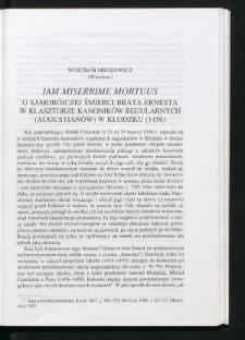 Iam miserrime mortuus. O samobójczej śmierci brata Ernesta w klasztorze kanoników regularnych (augustianów) w Kłodzku (1456)