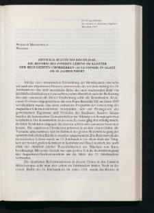 Difficilis restitutio disciplinae. Die Reform des inneren Lebens im Kloster der Regulierten Chorherren (Augustiner) in Glatz im 15. Jahrhundert