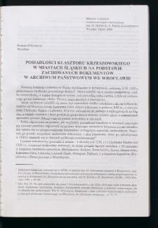 Posiadłości klasztoru krzeszowskiego w miastach śląskich na podstawie zachowanych dokumentów w Archiwum Państwowym we Wrocławiu