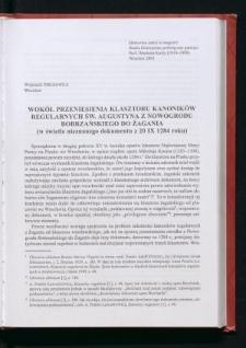 Wokół przeniesienia klasztoru kanoników regularnych św. Augustyna z Nowogrodu Bobrzańskiego do Żagania (w świetle nieznanego dokumentu z 20 IX 1284 roku)