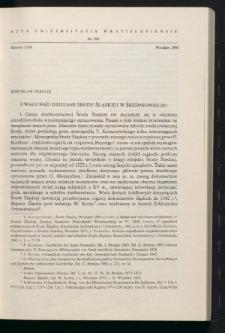 Uwagi nad dziejami Środy Śląskiej w średniowieczu