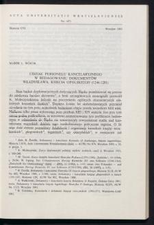 Udział personelu kancelaryjnego w redagowaniu dokumentów Władysława, księcia opolskiego (1246-1281)