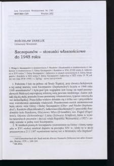 Szczepanów - stosunki własnościowe do 1945 roku