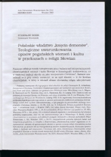 """Połabskie władztwo """"księcia demonów"""". Teologiczne uwarunkowania opisów pogańskich wierzeń"""