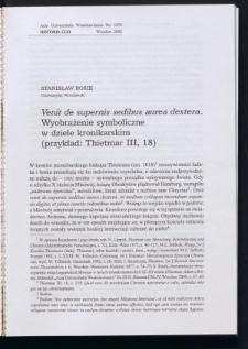 Venit de supernis sedibus aurea dextera. Wyobrażenie symboliczne w dziele kronikarskim (przykład: Thietmar III, 18)