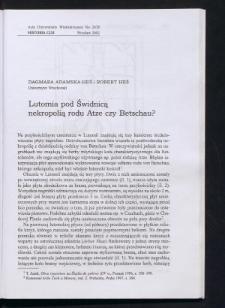 Lutomia pod Świdnicą nekropolią rodu Atze czy Betschau?