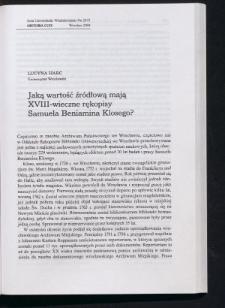 Jaką wartość źródłową mają XVIII-wieczne rękopisy Samuela Beniamina Klosego?