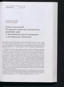 Causa computandi. W sprawie możliwości interpretacji symboliki liczb w dwunastowiecznych przekazach o chrystianizacji Pomorzan