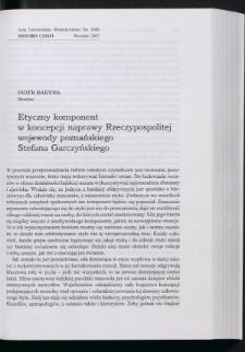 Etyczny komponent w koncepcji naprawy Rzeczypospolitej wojewody poznańskiego Stefana Garczyńskiego