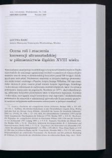Ocena roli i znaczenia konwencji altransztadzkiej w piśmiennictwie śląskim XVIII wieku