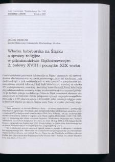 Władza habsburska na Śląsku a sprawy religijne w piśmiennictwie śląskoznawczym 2. połowy XVIII i początku XIX wieku
