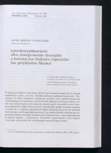 Interdyscyplinarność albo zintegrowanie dyscyplin a historyczne badania regionalne (na przykładzie Śląska)
