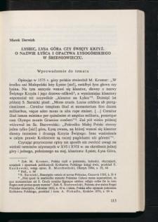 Łysiec, Łysa Góra czy Święty Krzyż. O nazwie Łyśca i opactwa Łysogórskiego w średniowieczu