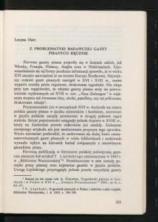 Z problematyki badawczej gazet pisanych ręcznie