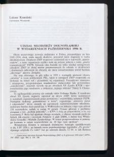 Udział młodzieży dolnośląskiej w wydarzeniach października 1956 r.