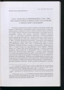 Jana Tadeusza Lubomirskiego (1826-1908) refleksje o opiece społecznej i filantropii u Francuzów i Anglików