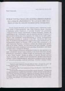 """Publicystyka Wacława Kostka-Biernackiego na łamach """"Przedświtu"""" w latach 1909-1912. Przyczynek do dziejów polskiej myśli wojskowej"""