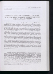 """Opinie o rządach socjaldemokratycznych w Skandynawii w okresie międzywojennym na łamach """"Robotnika"""""""