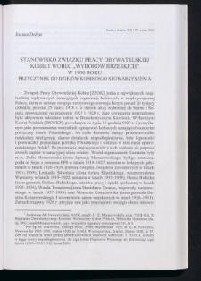"""Stanowisko Związku Pracy Obywatelskiej Kobiet wobec """"wyborów brzeskich"""" w 1930 roku. Przyczynek do dziejów kobiecego stowarzyszenia"""