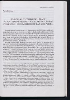 Zmiana w postrzeganiu pracy w polskim piśmiennictwie parenetycznym pierwszych siedemdziesięciu lat XVIII wieku