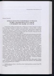 Społeczeństwo żydowskie w Polsce wobec referendum 30 VI 1946 r. i wyborów do sejmu 19 I 1947 r.