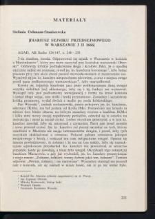 Diariusz sejmiku przedsejmowego w Warszawie 3 II 1666