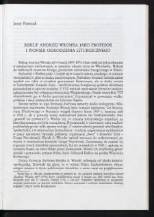 Biskup Andrzej Wronka jako profesor i pionier odrodzenia liturgicznego