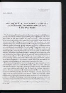 Obyczajowość w uzdrowiskach sudeckich Dolnego Śląska i hrabstwa kłodzkiego w XVII-XVIII wieku